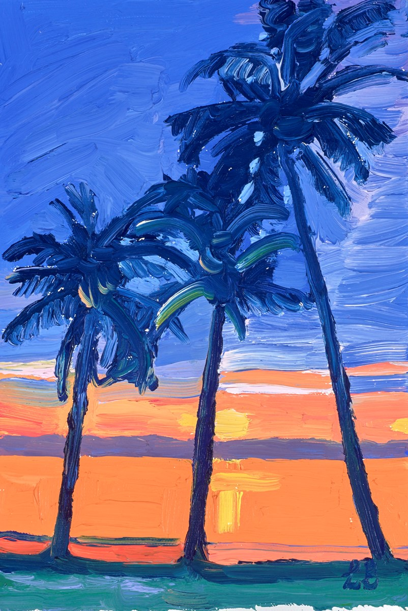 Sunset Palms by leila barton -  sized 8x12 inches. Available from Whitewall Galleries